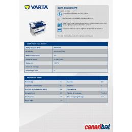 VARTA (D54)  START STOP EFB 12V 65AH