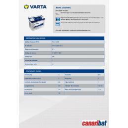 VARTA BLUE (E11) 12V. 74AH 680A.+D (278X