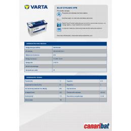 VARTA START STOP EFB (N95)12V 95AH 850A